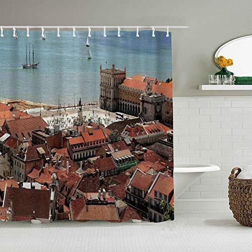 Kgblfd Cortina de Ducha Impermeable,Vista del Centro de Lisboa Portugal con tejados y mar Ciudad Vieja Ciudad nostálgica,Cortinas de baño de poliéster de diseño 3D con 12 Ganchos,tamaño 180 x 180cm