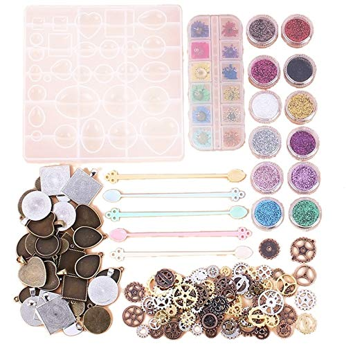 XiaoG Jewelry resin cast mold DIY Handmade Crystal Glue Mold Set Crystal Glue Jewelry Mold Set-45 Pcs Silicone Casting Molds And Tools Set For Resin Jewelry (Color : WHITE)