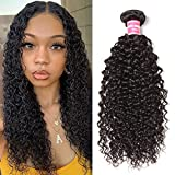 Donmily Hair Brazilian Virgin Human Hair Jerry Curly Pack of 3 Hair Weave Weft Extensions Natural Color 95-100g/Bundle (16 18 20, Natural Color)