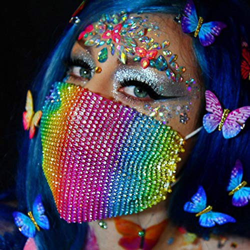 Glitter Masquerade Masc for Women Sparkly Rhinestone Mesh Mask Bling Face Bandana Cosplay Mask Halloween Costume Covering (Rainbow)