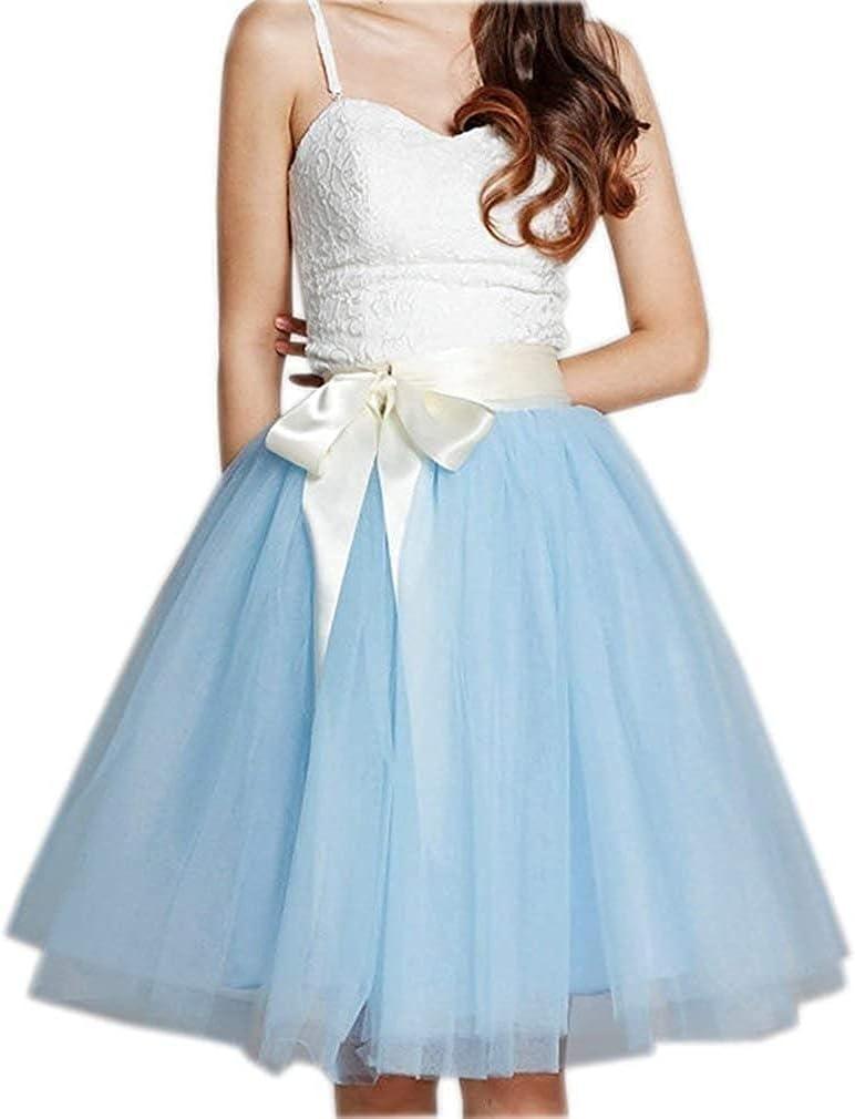 Women's XL Long Skirt, A-line Short Skirt, Tulle Long Skirt, Tulle Wedding Dress, Tulle Dress (Color : Royal Blue, Size : Small)