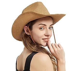 Straw Cowboy Hat for Men/Women Packable Wide Brim Sun Hat for Fishing Beach Golf Beige