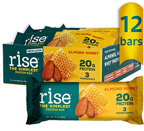 Rise Whey Protein Bars - Almond Honey | Healthy Breakfast Bar & Protein Snacks, 20g Protein, 4g Fiber, Just 3 Whole Food Ingredients, Non-GMO Healthy Snacks, Gluten Free, Soy Free Bar, 12 Pack