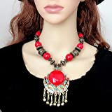 LFY Collar Retro de Borla, Cadena de suéter de Estilo Bohemio, Collar Nacional de Piedras Preciosas Rojas, Regalo de cumpleaños de Navidad (Color : Rojo)