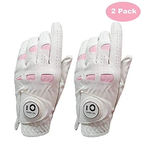 FINGER TEN Golfhandschuhe für Damen, für die Linke oder rechte Hand, Leder, mit Ballmarker-Packung, weicher Cabretta-Grip, Größe S, M, L, XL
