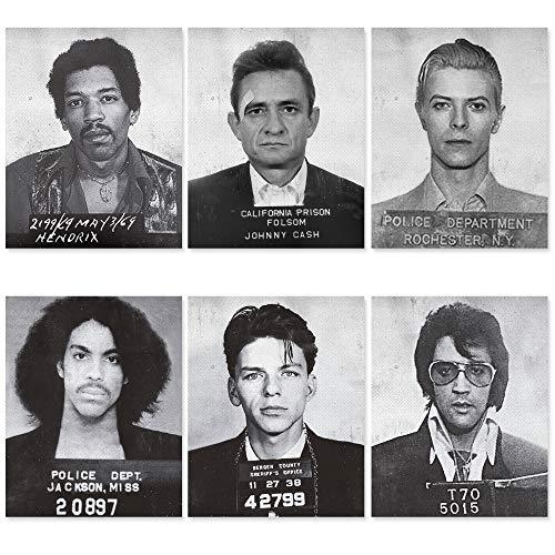 Celebrity Mugshot Poster Vintage Rock Posters - 8x10 UNFRAMED - Jimi Hendrix Poster David Bowie Poster Johnny Cash Elvis Presley Frank Sinatra - Vintage Posters for Room Aesthetic 90s - Music Posters
