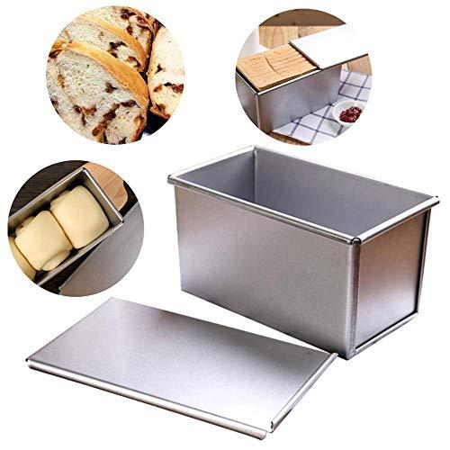 ZKDY Antiadhésif Rectangulaire en Aluminium Plaque Miche Pain Pain Gâteau Pan Tin avec Couverture Toast Moules DIY Petit Gâteau Pan Toast Plaque Cuisine