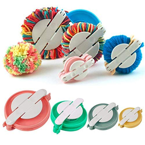 Accmart 4 Sizes Pom-pom Maker for Fluff Ball DIY Wool Knitting Craft Tool Set, Best for Christmas Decorations