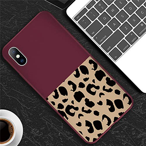 WQDWF Leopard Print Colorful Phone Case For iPhone 11 Pro 6 6s 7 8 Plus X XR XS Max 5 5s SE Soft TPU For iPhone X Phone Cases,T2 wine red,For iphone 8 Plus