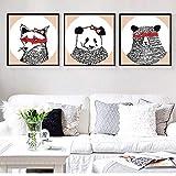 BGMBB Carteles e Impresiones de Animales de Arte sobre Lienzo en la Sala de Estar decoración del hogar Cortadas imágenes de Oso Panda Zorro 55x55cmx3Pcs sin Marco
