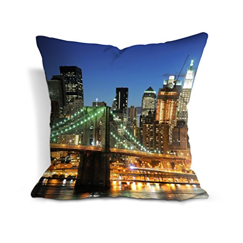 Housse de coussin en coton et polyester 45,7 x 45,7 cm Motif pont de Brooklyn et gratte-ciel de New York