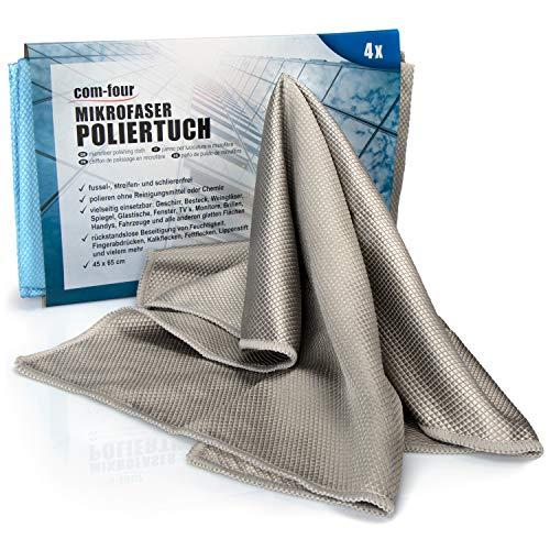 com-four® 4X Glaspoliertücher 45 x 65 cm - Glastuch in blau und grau - Poliertücher - Mikrofasertuch für Gläser, Spiegel, Fenster und Glasmöbel (Set 2 - Poliertücher 4 Stück)
