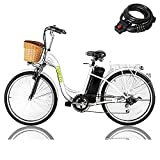 Electric Bike Adult Electric Biycle Assisted Bicycle for Female Men with Removable 250W36V Large Capacity Lithium Battery and Charger (26 Inches ebike) (Lady White)