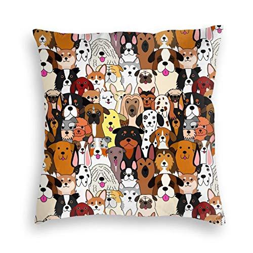 liang4268 Colorful Doodle Dogs Printing Wiederverwendbarer Kissenbezug Wurf Sofa Kissenbezug Cartoon Samt Kissenbezug Bettkissen Autokissen Stuhlkissen(18'X18')