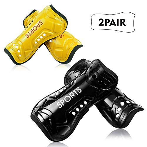 Youth Soccer Shin Guards, 2 Pair Lightweight and Breathable Child Calf Protective Gear Soccer Equipment for 3-10 Years Old Boys Girls Children Teenagers (Yellow)