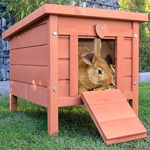 zooprinz großes Kleintierhaus mit klappbarem Dach – perfekt für draußen und drinnen – Besonders einfach umgestellt – Nagerhaus aus Vollholz mit natürlicher Farbe gestrichen - Hasenhaus Kaninchen Haus