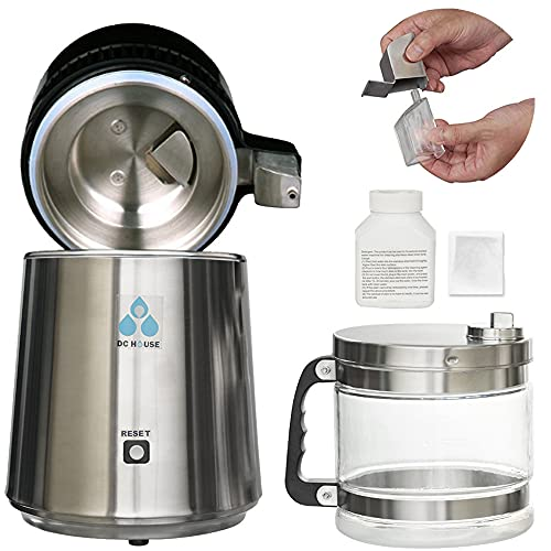 DC HOUSE 1 Gallon Countertop Water Distiller Stainless Steel Distiller with Glass Filter and Most Effective TDS Removal