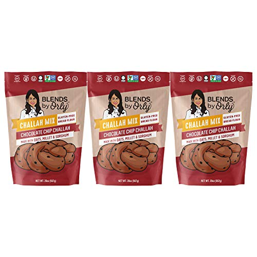 Gluten Free Chocolate Chip Challah Mix - Baking Mix for Gluten Free Chocolate Chip Challah Bread, GF Chocolate Chip Dinner Rolls & Chocolate Chip Babka From Blends by Orly 61.5 Oz (Pack of 3)