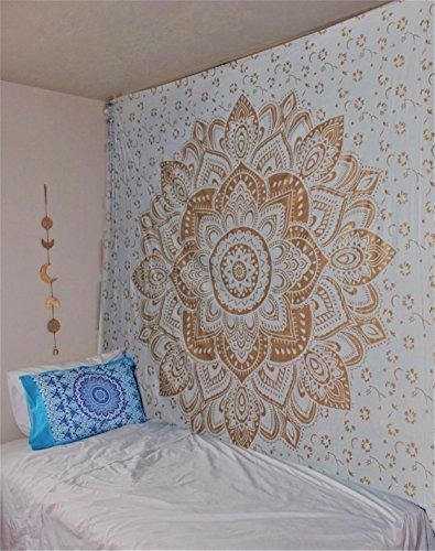 raajsee Indisch Psychedelic Wandteppich Mandala Metallic Gold weiß,Elefant Boho Wandtuch Hippie,Golden Boho Indischer Weiss Wandbehang Tuch, (Gold Passion, 210 x 220 cms Queen)