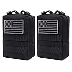 """One item includes two tactical pouches(US flag patch not included). Molle pouch size: 6.1""""L x 4.5""""W x 2.2""""T. The outside of the pouch is made of durable 600D nylon for long time use. The inside of the pouch is made of water-resistant coating to preve..."""