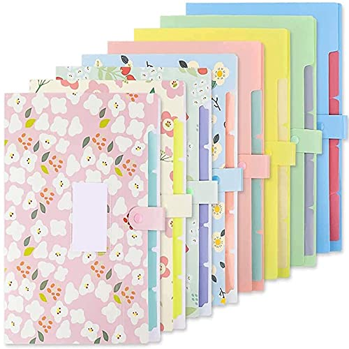 EOOUT 8pcs Expanding Floral File Folders, Plastic Accordion Document Organizer with 5 Pockets Snap Closure and 64 Label Stickers, Letter Size, A4 Size, for School and Office Supplies