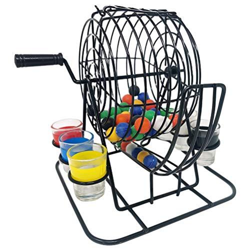 YsaAsaa Jaula de bingo para beber, juego divertido de fiesta, jaula de bingo de metal, 48 bolas de bingo de colores, y 6 vasos de chupito de cristal