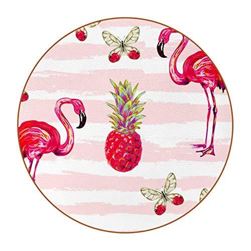 Posavasos de Cuero de Microfibra Animal Flamenco Rosado 6 Piezas Redondo Posavasos, para Hogar, Oficina y Cocina, Taza de té Café Bebida Posavasos de Vidrio 11cm
