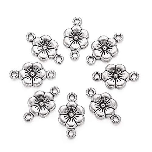 Cheriswelry 50 abalorios tibetanos de plata de ciruelo con forma de flor de flores para hacer pulseras y joyas