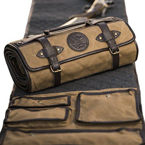 Gun Cleaning MAT by Sage & Braker. Made from Waxed Canvas, Wool and Leather.