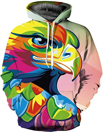 ZJIIXON 3D printed sweater,Christmas costume party Abstract Colored Eagle Couple Jacket Baseball Uniform For Student Top Coat-As_shown_L-XL