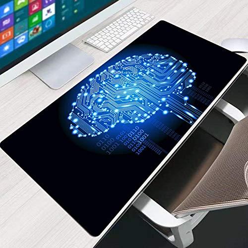 CQDSQN Alfombrilla Gaming 1000 X 500 X 3 mm Azul Circuito Abstracto Cerebro Alfombrilla De Ratón Grande Alfombrillas Gaming Raton Ordenador XXL Mouse Pad Almohadilla De Escritorio Grandes Alfombrill