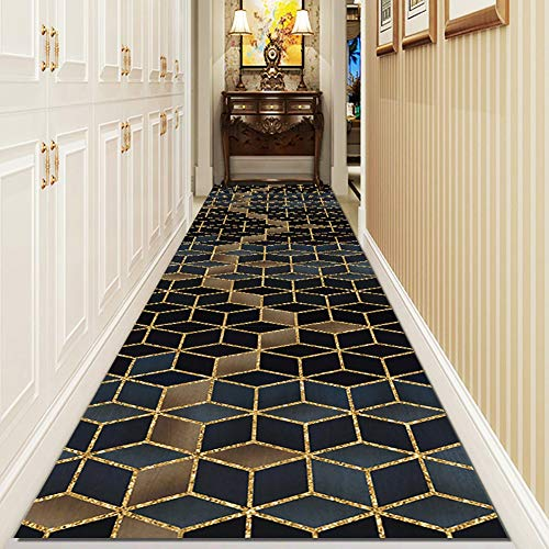 Modern Runner Rugs for Hallway/Entry/Kitchen, 3D Cube Design, Blue & Brown Indoor/Outdoor Area Rugs, Cut To Size - 60cm/80cm/100cm/120cm/140cm Wide (Size : 140×500cm(4.6×16.4ft))