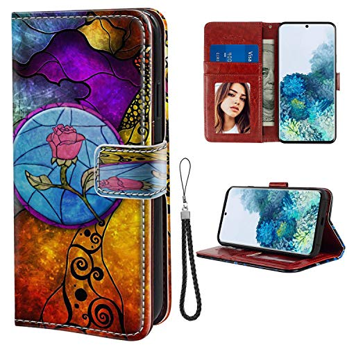 DISNEY COLLECTION Wallet Case for Samsung Galaxy S20 Case Beauty and The Beast with Kickstand Card Holder and Wrist Strap Folio Flip Wallet Case with Card Holder