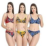Earmark Women\s Flower Print Lingerie Sets (Multicolour, 36) - Pack of 3