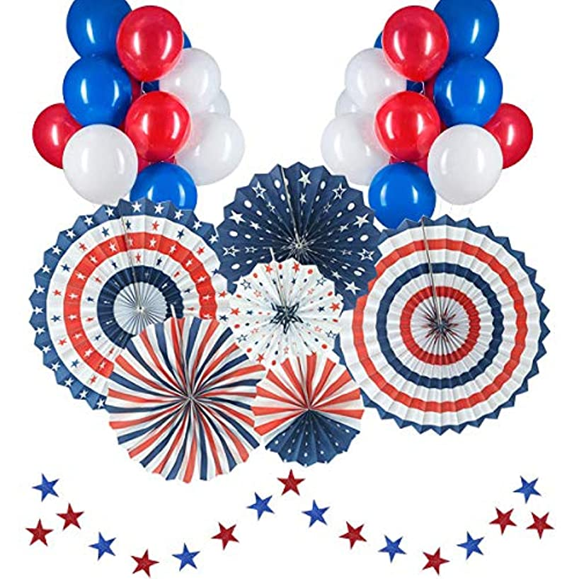 July Fourth Decorations For 4th Of July Patriotic Decorations American Independence Day July 4th Party Decor Supplies Include 6Pcs Blue Red And White Paper Fans, 30Pcs Blue White And Red Balloons, 20 Blue And Red Stars Streamers