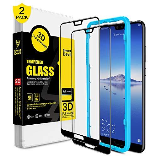 SmartDevil Huawei P20 Panzerglas Schutzfolie [2-Stück] [mit Installation Werkzeug] [Full Glue Coverage] 9H Härte,Blasen und HD Anti-Öl,Panzerglas Schutzfolie für Huawei P20 (Schwarz)