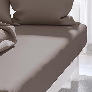 Atmosphère Zzz Drap housse, Polycoton, Marron, 140 x 190 cm