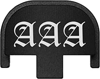 BASTION Laser Engraved Rear Cover Slide Back Plate for Smith & Wesson SD9VE, SD9, SD40VE, SD40. 9mm & .40 Cal - Custom Initials Old English