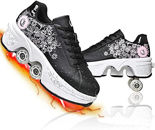 MQJ Patines Roller Adulto Multifuncional 4 Ruedas Deforión Zapatos de Rodillos Invisible Doble Fila Polley Patines Automáticos Zapatos para Caminar para Niñas,Negro + Rosa,42