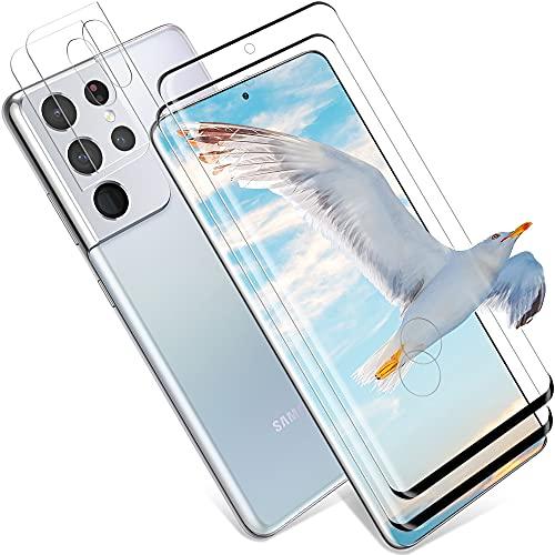wsky Cristal blindado para Samsung Galaxy S21 Ultra y protección de cámara, [2 protectores de pantalla + 2 protectores de cámara], HD Clear Protector de pantalla sin burbujas para Samsung S21 Ultra