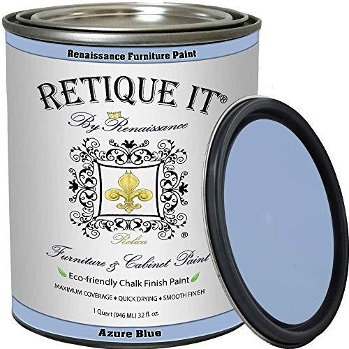 Renaissance Chalk Finish Paint - AzureBlue 1 Pint (16oz) - Chalk Furniture & Cabinet Paint - Non Toxic, Eco-Friendly, Superior Coverage, Azure Blue 22