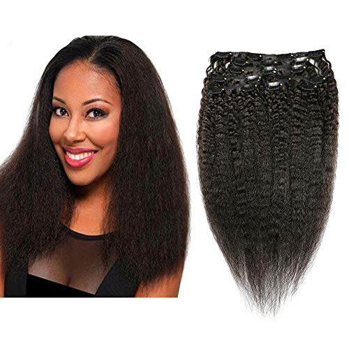 Mila Kinky Straight Clip in Hair Extensions Cheveux Naturel Bresilienne Vierge 100% Humain Cheveux 8pc Noir 120gram/Set 12inch/30cm