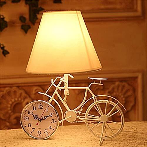 FHW Lámpara de mesa niños lámpara de mesa creativa regalo bicicleta decoración iluminación lámpara reloj dormitorio de noche lámpara lámpara de lectura lámpara de noche lámpara de noche Lámparas de es