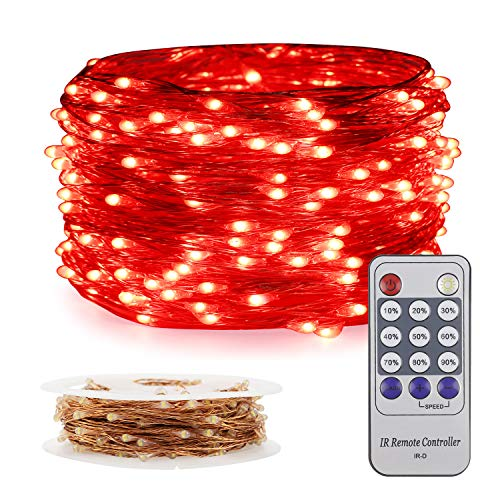 ER CHEN Fairy Lights Plug in, 33Ft/10M 100 LED Starry String Lights Outdoor/Indoor Waterproof Copper Wire Decorative Lights for Bedroom, Patio, Garden, Party, Christmas Tree (Red)