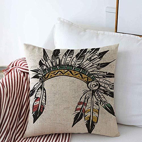 Autisum Tribal Mohawk North Feather Disfraz Indio Jefe Tocado Vintage Apache History Western Diadema Sof Decorativo,Funda De Almohada Cuadrada,Funda De Almohada Cama
