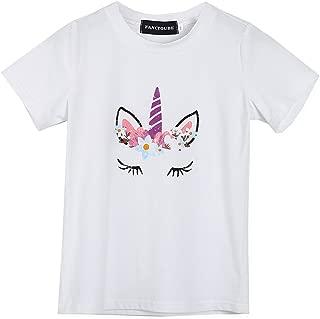 Fancyqube Girl's Unicorn Print T-Shirt Be Like Me Birthday Party Shirt Top