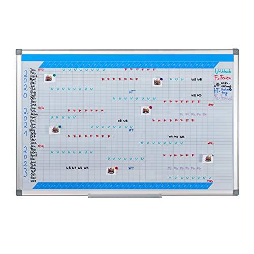 Relaxdays Whiteboard, 3-Jahresplaner, abwischbar, magnetisch, Planungstafel mit Stiftablage, Magnetwand 60 x 90 cm, weiß, 1 Stück