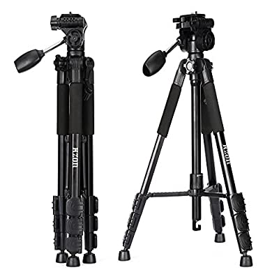 Camera Tripod, Kzon F560 Light Weight Portable Aluminium Travel Tripod With 360 Degree Ball Head and Carry Case For Canon Nikon Sony Olympus DSLR Cameras …