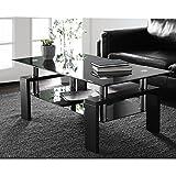 Mesa de centro de cristal templado, mesa auxiliar, mesa de café, mesa rectangular negra moderna con estante inferior y patas de madera para salón, oficina (100 x 60 x 45 cm)