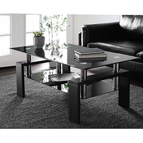 ModernLuxe Coffee Table Tempered Glass Living Room Table Black Modern Rectangular Tea Table 100 x 60 x 45 cm Black